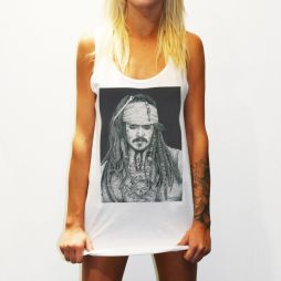 WOMENS CAPTAIN JACK WHITE SINGLET