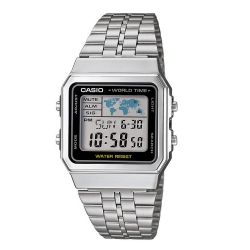 VINTAGE CASIO WORLD TIME SILVER