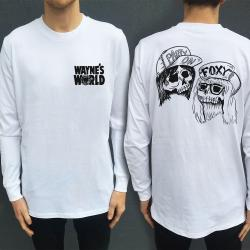 WAYNES WORLD WHITE LONGSLEEVE F & B