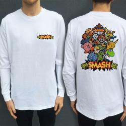 SMASH BROS WHITE LONGSLEEVE FRONT AND BACK