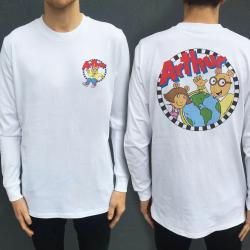 ARTHUR WHITE LONGSLEEVE FRONT AND BACK