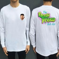 BEL AIR WHITE LONGSLEEVE FRONT AND BACK