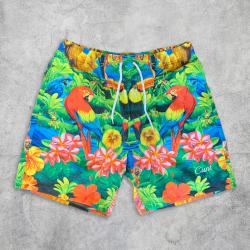 TROPICAL EMBROIDERED BEACH SHORTS