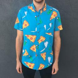 PIZZA PARTY BUTTON UP SHIRT