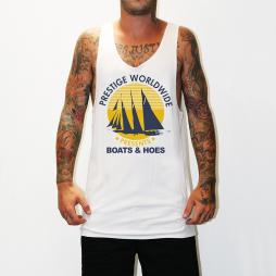 BOATS N HOES WHITE SINGLET