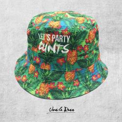 87744f0af2c RECO ACCESSORIESRED TINS PARODY BEANIE WITH EMBROIDERED PATCH 29.95 LETS  PARTY BUCKET HAT