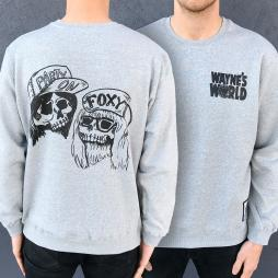 WAYNES WORLD FRONT AND BACK GREY CREW