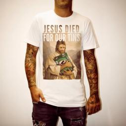 JESUS TINS WHITE TEE + FREE STUBBY HOLDER