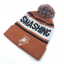 SMASHING ORANGE BEANIE WITH EMBROIDERED PATCH