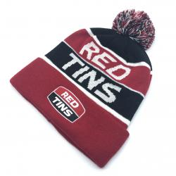 RED TINS PARODY BEANIE WITH EMBROIDERED PATCH