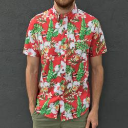 RED TINS HAWAIIAN BUTTON UP SHIRT