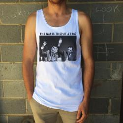 SPLIT A BAG WHITE SINGLET