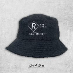 RATED R BLACK TERRY TOWELLING BUCKET HAT