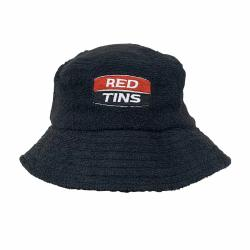 RED TINS BLACK TERRY TOWELLING BUCKET HAT
