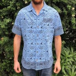 BLUE BIRD VACATION BUTTON UP SHIRT