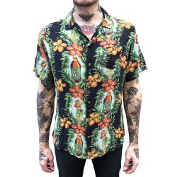 BLACK HULA RAYON VACATION SHIRT