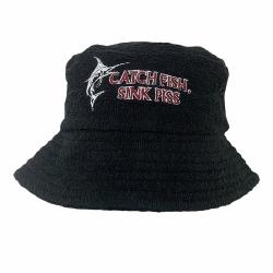 BLACK SINK PISS TERRY TOWELLING BUCKET HAT