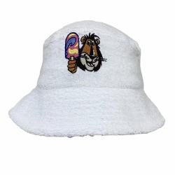 RAINBOW WHITE TERRY TOWELLING BUCKET HAT