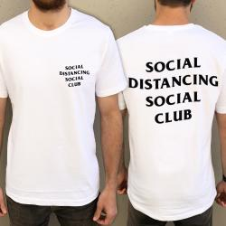 BLACK LOGO SOCIAL DISTANCING FRONT AND BACK TEE