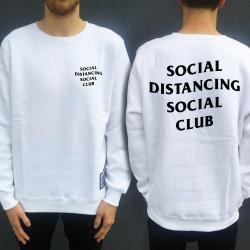 SOCIAL DISTANCING FRONT AND BACK WHITE CREW