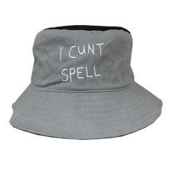 I CNT SPELL GREY/BLACK BUCKET HAT