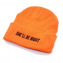 ORANGE HI VIS SHE'LL BE RIGHT BEANIE