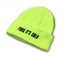 LIME GREEN HI VIS FUCK ITS COLD BEANIE