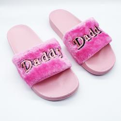DADDY PINK FUR SLIDES