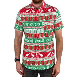 8BIT XMAS BUTTON UP SHIRT
