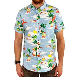HAWAIIAN SANTA BUTTON UP SHIRT