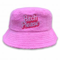 BITCH PLEASE PINK TERRY TOWEL BUCKET HAT