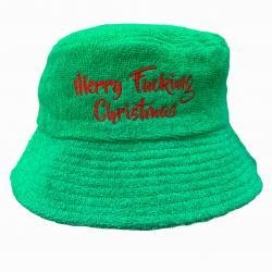 GREEN MERRY CHRISTMAS TERRY TOWEL BUCKET HAT