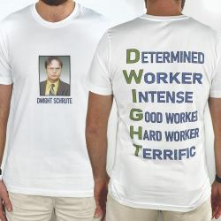 DWIGHT FRONT AND BACK WHITE TEE