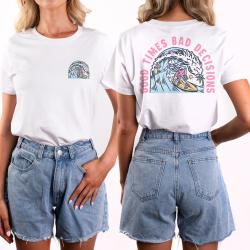WOMENS GOOD TIMES FRONT AND BACK WHITE TEE