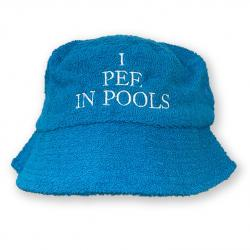 I PEE IN POOLS TERRY TOWEL BUCKET HAT BLUE
