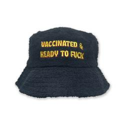 BLACK VACCINATED AND READY TERRY TOWEL BUCKET HAT